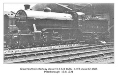 GNR H3 260 1686 LNER K2 4686 Peterboro 13 8 1921