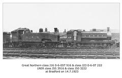 GNR J16 916 & J50 222 LNER J55 3916 & J50 3222 Bradford 14 7 1923