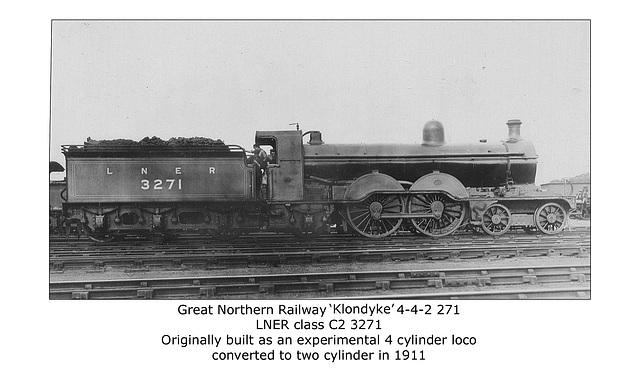 GNR Klondyke 4 4 2 271 LNER cl C2 3271 8 1926 no loc WHW
