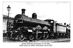 GNR Klondyke 4 4 2 990 LNER cl C2 3990 Doncaster 20 6 1925
