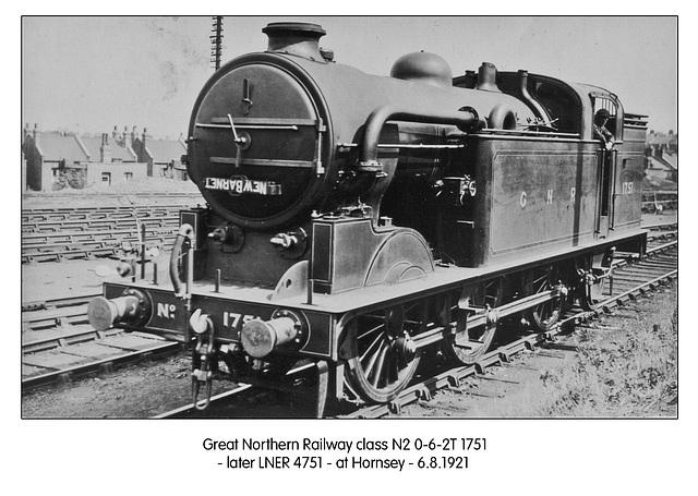 GNR N2 1751 062T LNER 4751 Hornsey 6 8 1921