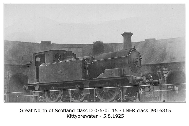 GNSR cl D 060T 15 LNER cl J90 6815 Kittybrewster 5 8 1925