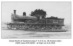 GNSR cl F 4 4 0 48 Andrew Bain LNER 6848 Elgin 6 8 1925