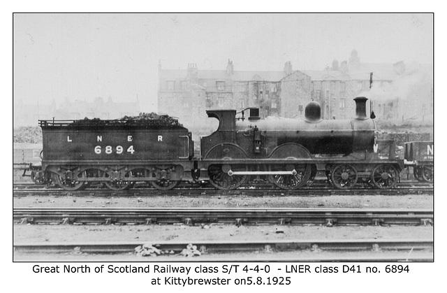 GNSR cl SorT 4 4 0 LNER cl D41 6894 Kittybrewster 5 8 1925