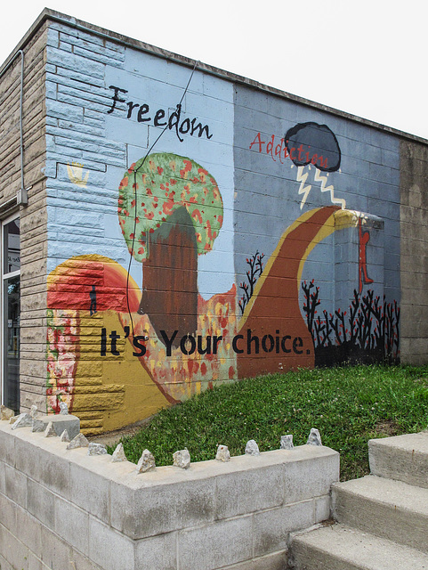 """""""Freedom / Addiction"""" 2-sided message to the people of the city of Columbus, Ohio."""