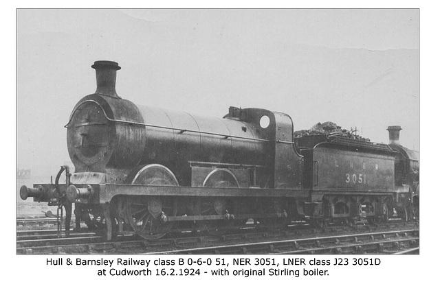 H&BR cl B 060 51 NER 3051 LNERcl J23 Cudworth 16 2 1924