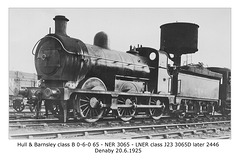 H&BR class B 0-6-0 no.65 - NER 3065 - LNER class J23 - Denaby - 20.6.1925