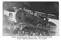 H&BR class J 4-4-0 - LNER class D24 2425 - Hull - 16.11.1924 - WHW