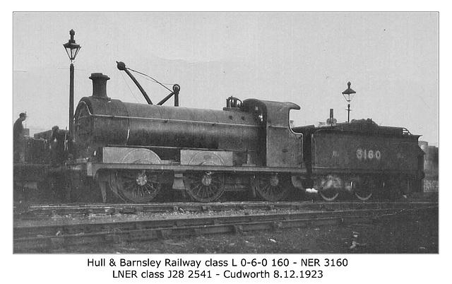 H&BR class L 0-6-0 160 NER 3160 LNER cl J28 Cudworth -  8.12.1923 - WHW