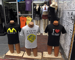 "Tshirt ideas of: ""I'm loving it"" golden arches shape of yellow spread-legged lady; If you see da police, warn a brother; I love to fart / I ♥ to fart / I heart to fart."