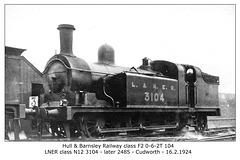HBR cl F2 0 6 2T 104 LNER class N12 3104 then 2485 Cudworth - 16.2.1924 - WHW
