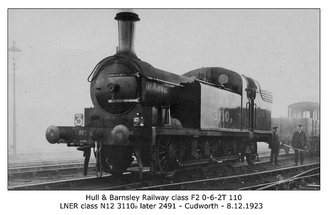 HBR cl F2 0 6 2T 110 LNER cl N12 3110D then 2491Cudworth 8 12 1923 WHW