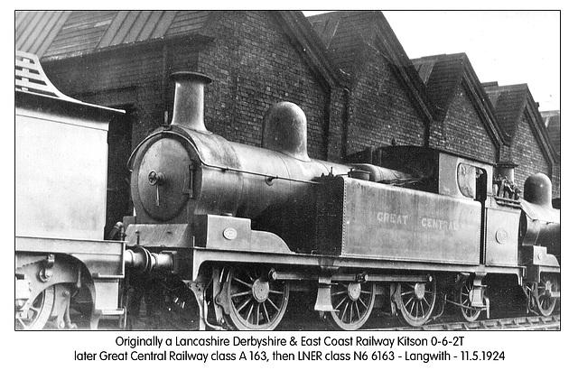 LD&ECR 062T GCR clA LNER cl N6 6163 Langwith 11 5 1924 WHW