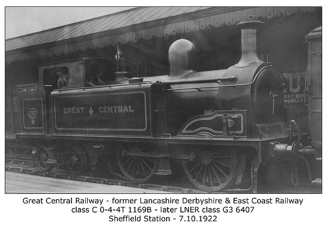 LD&ECR GCR cl C 1169B LNER cl G3 6407 Sheffield 7 10 1922 WHW
