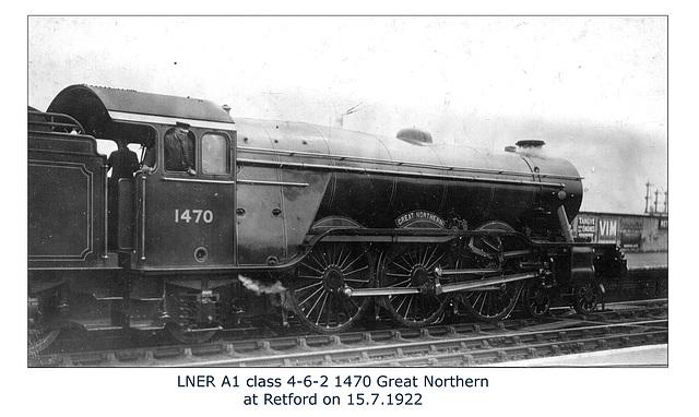 LNER A1 1470 Great Northern Retford 15 7 1922 WHW
