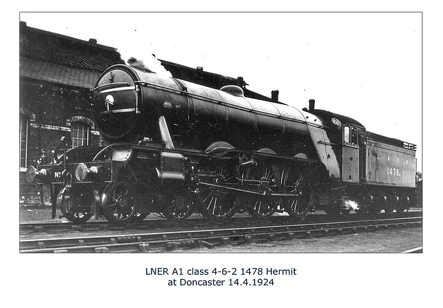 LNER A1 1478 Hermit Doncaster 14 4 1924 WHW