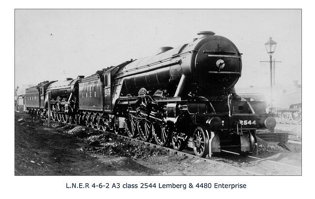 LNER A3 4 6 2 2544 Lemberg & 4480 Enterprise 25 8 28 Doncaster WHW