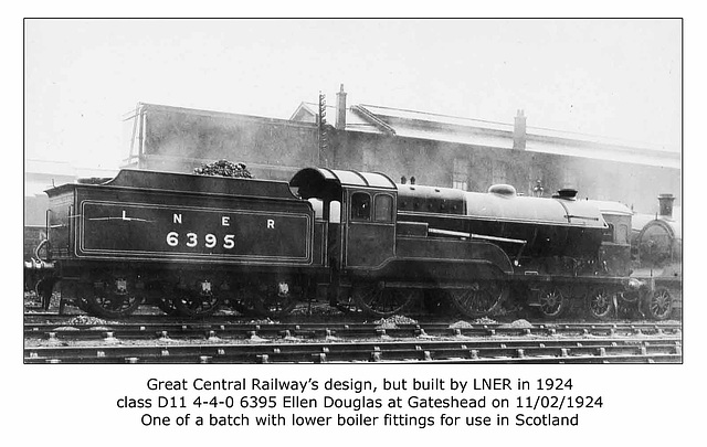 LNER cl D11 4 4 06395 Ellen Douglas at Gateshead 2 11 1924 WHW