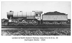 LNER cl K3 2 6 0 33 Darlington Works 1924