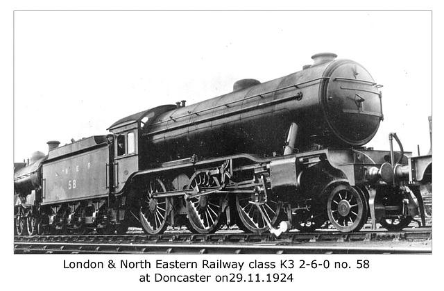 LNER cl K3 2 6 0 58 Doncaster 29 11 1924 WHW