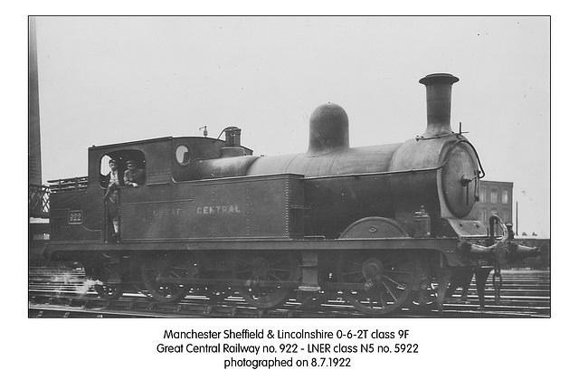 MS&LR 062T GCR 922 LNER cl N5 5922  8 7 1922