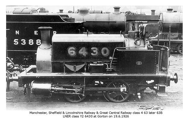 MS&LR GCR cl4 63 63B LNER cl Y2 6430 Gorton 19 6 1926 WHW