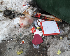 Did a person slip and fall on the way out to the dumpster with his or her armloads of trash!