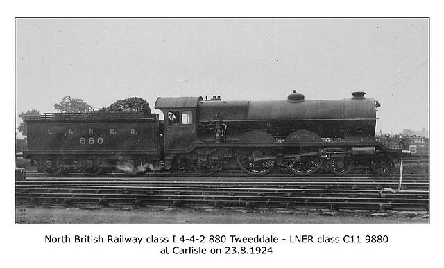 NBR cl I 4 4 2 880 Tweeddale LNER cl C11  Carlisle 23 8 1924 WHW