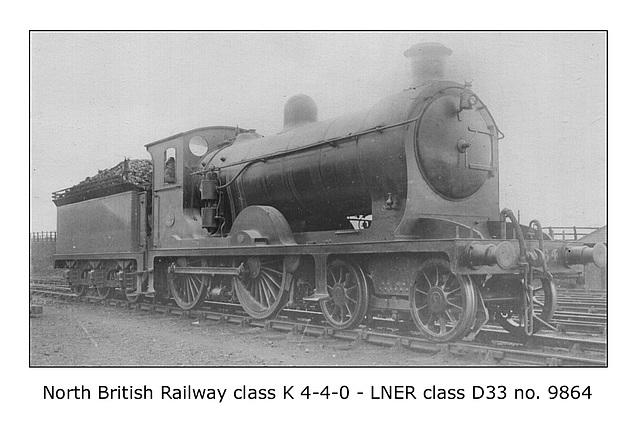 NBR cl K 4 4 0 LNER cl D33 9864
