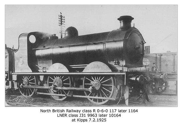 NBR cl R 117 ltr 1164 LNER cl J31 9963 ltr 10164 Kipps 7 2 1925
