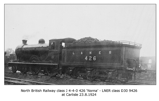 NBR class J 4-4-0 426 Norna LNER cl D30 Carlisle 23 8 1924