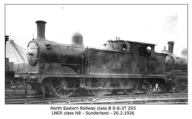 NER cl B 0 6 2T 293 LNER cl N8 Sunderland 20 2 1926 WHW