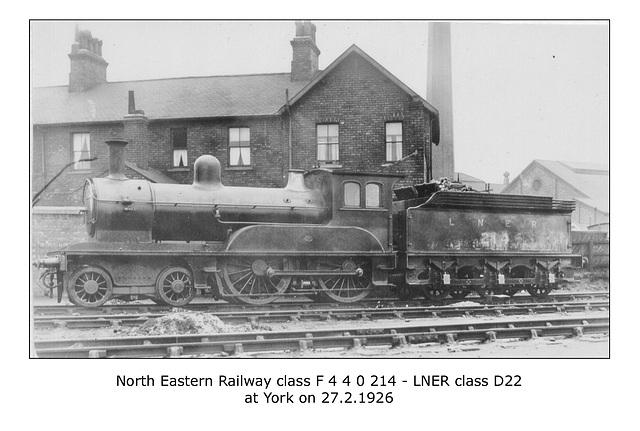 NER cl F 4 4 0 214 LNER cl D22 York27 2 1926 WHW