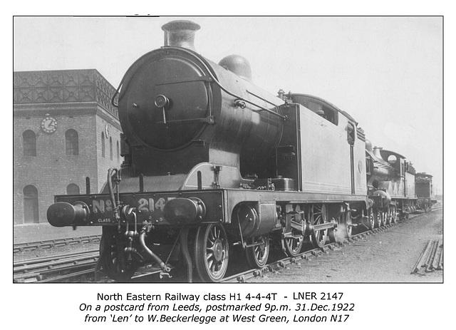 NER cl H1 4 4 4T Leeds pcard pmarked 31 12 1922