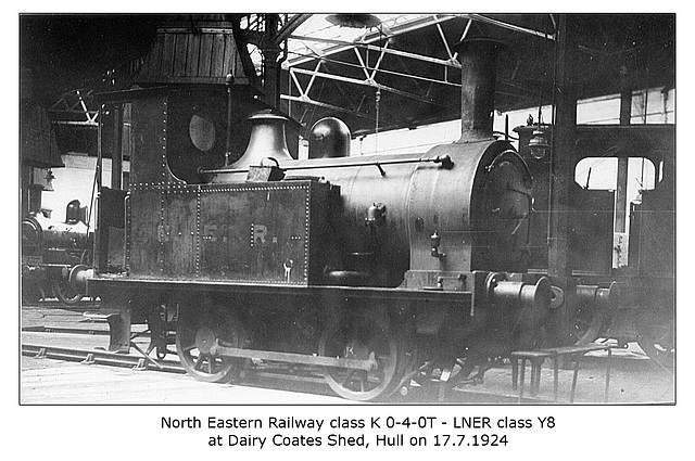 NER cl K 040T no number given LNER cl Y8 Dairy Coates Shed Hull 17 7 1924 WHW