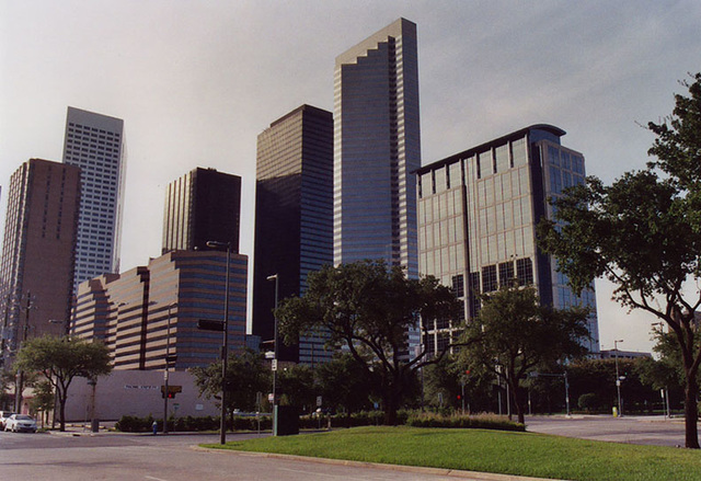 View of Downtown Houston from the Hilton Hotel, July 2005