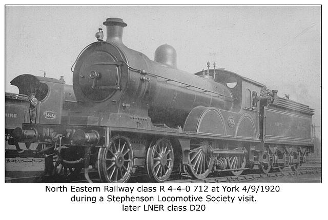 NER cl R 4 4 0 712 York 4 9 1920 LNER cl D20