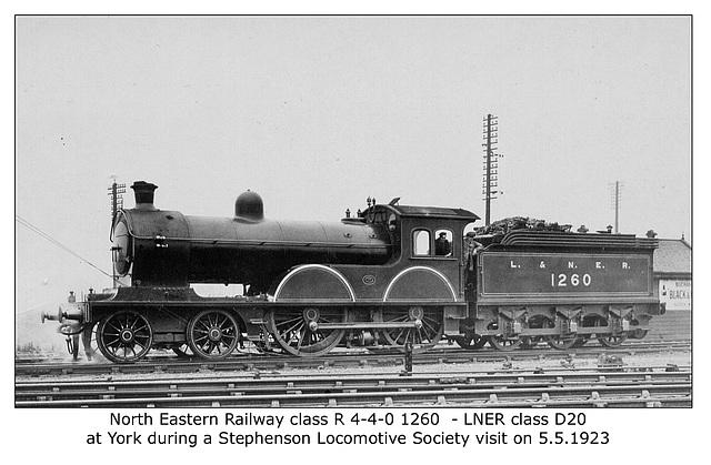NER cl R 4 4 0 1260 York 5 5 1923 LNER cl D20 WHW