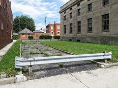 A guardrail & a road.