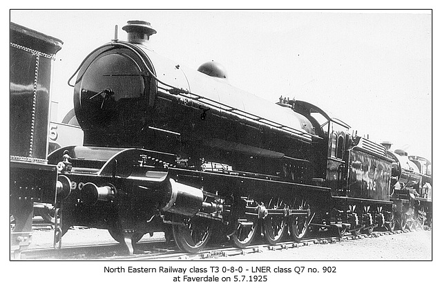 NER class T3 0-8-0 - LNER class Q7 902 at Faverdale - 5.7.1925  - WHW