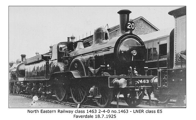 NER cl1463 2 4 0 1463 LNER cl E5 Faverdale  18 7 1925 WHW