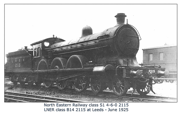 NER class S1 4-6-0 2115 - LNER B14 2115 - Leeds - June 1925 - WHW