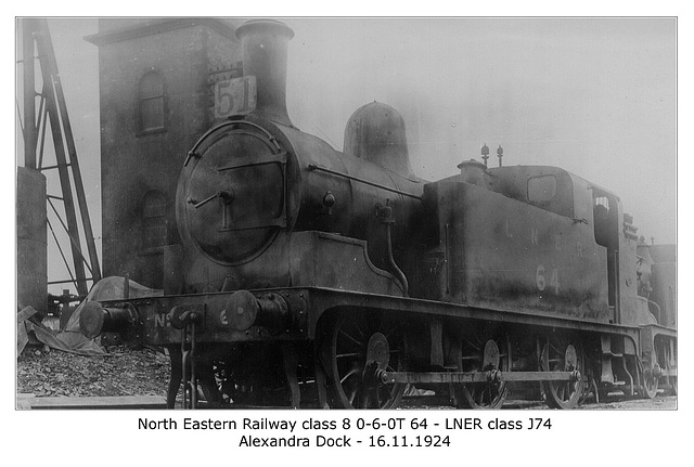 North Eastern Railway class 8 0-6-0T 64 - LNER class J74 Alexandra Dock WHW