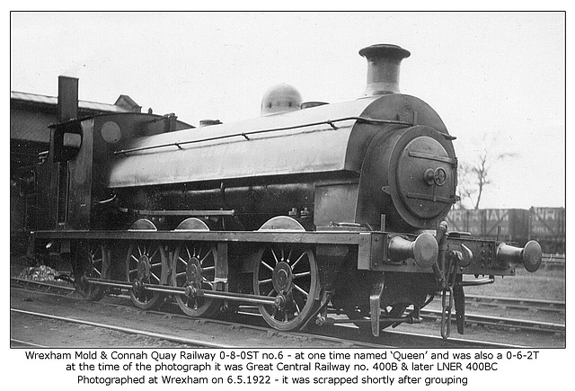 WM&CQR 0 8 0ST no 6 GCR 400B LNER 400BC