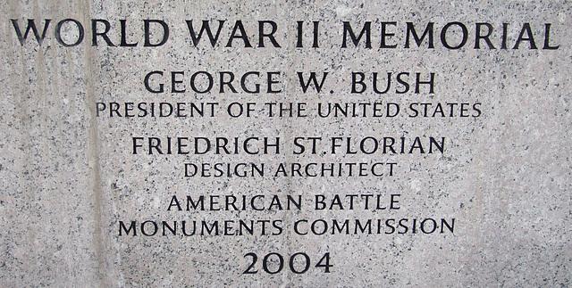 Inscription on the WWII Memorial, September 2009