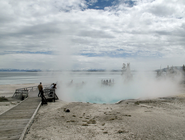 The arrival of gatherings of tourists to Wyoming to see the steamy features.