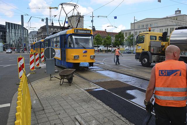 Leipzig 2013 – Tram 2141 passing some repair works