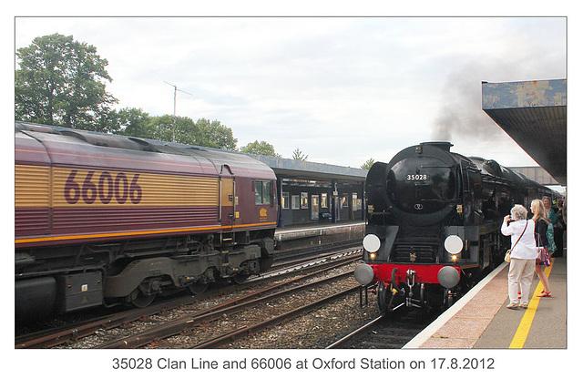 35028 Clan Line & 66006 - Oxford - 17.8.2012