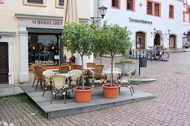 Ĉokolada butiko kaj turistinformejo (Schokoladen und Touristeninformation