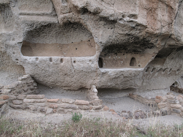 """Bandelier National Monument"" descending spaceship-shape of ancient-times cliffdwelling."